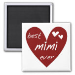 Red Heart Best Mimi Ever Tshirts and Gifts Fridge Magnets