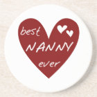 Red Heart Best Nanny Ever T-shirts and Gifts Coaster