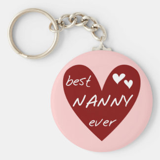 Red Heart Best Nanny Ever T-shirts and Gifts Keychain