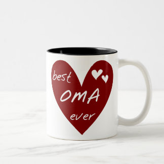 Red Heart Best Oma Ever T-shirts and Gifts Two-Tone Coffee Mug