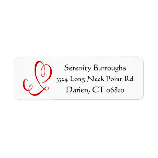 Red Heart Black and White Love Return Address Return Address Label