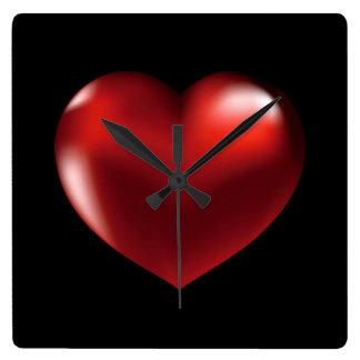 Red Heart Black Back Ground Acrylic Wall Clock