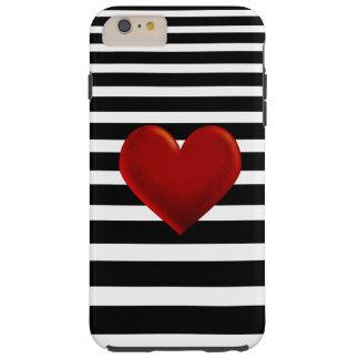 Red Heart Black White Stripes Tough iPhone 6 Plus Case