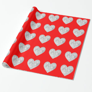 Red Heart Border with Photo Wrapping Paper