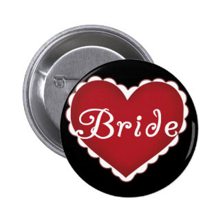 Red Heart Bride T-shirts and Gifts Pin