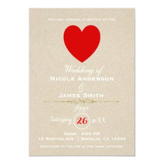 Red Heart Brown Kraft Valentine Modern Wedding Card