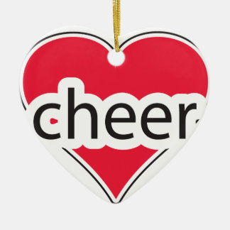 Red Heart Cheer Ceramic Ornament