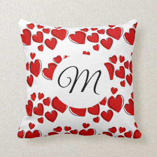 Red Heart Clusters With Monogram Throw Pillow
