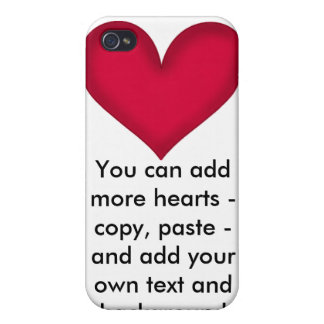 Red Heart Custom Valentine Heart  iPhone 4 Case