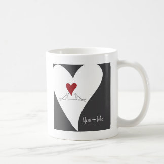 Red Heart Cute White Doves in Love Classic White Coffee Mug