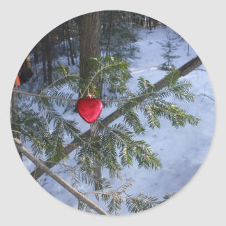 Red Heart Decoration  on Pine Branch Round Sticker