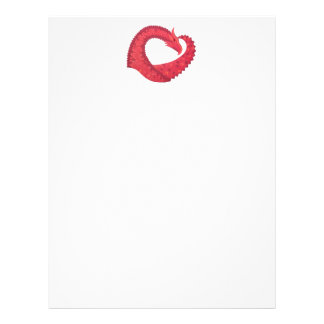 Red heart dragon on white letterhead