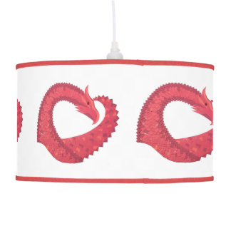 Red heart dragon on white pendant lamp