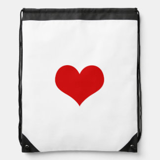 Red Heart Drawstring Backpack