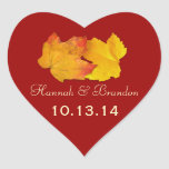 Red Heart Fall Leaves Personalized Wedding Sticker