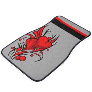 Red Heart Flower Design Floor Mats Floor Mat