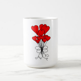Red Heart Flowers Bouquet Hearts Illustration Classic White Coffee Mug