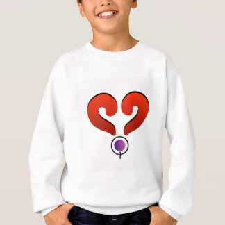 Red heart formed by 2 question marks sweatshirt