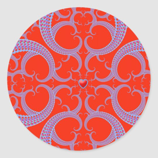 Red Heart Fractal Pattern Classic Round Sticker