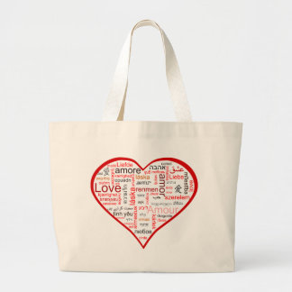 Red Heart full of Love in many languages Jumbo Tote Bag