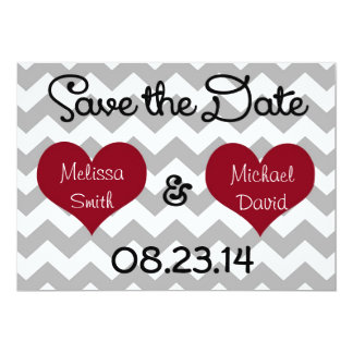 Red Heart Grey Chevron Save the Date Card