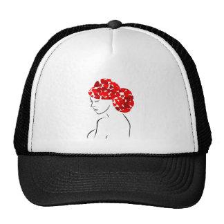 Red heart hair woman trucker hat