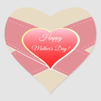 Red Heart, Happy Mother's Day! Heart Sticker