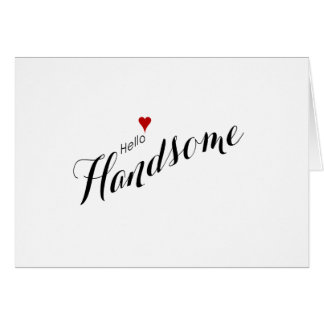 Red Heart Hello Handsome Wedding Card