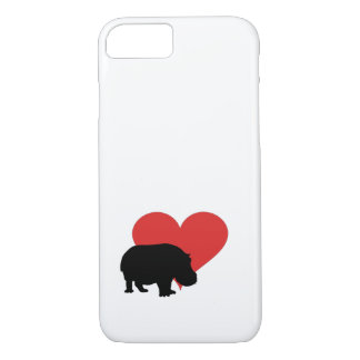 Red Heart Hippo iPhone 7 Case