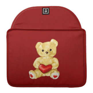 Red Heart Hypnotizing Cute Teddy Bear Sleeve For MacBook Pro