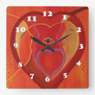 Red Heart Insider Square Wall Clock
