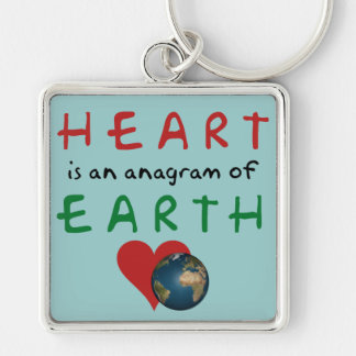 Red Heart is anagram for Green Earth Silver-Colored Square Keychain