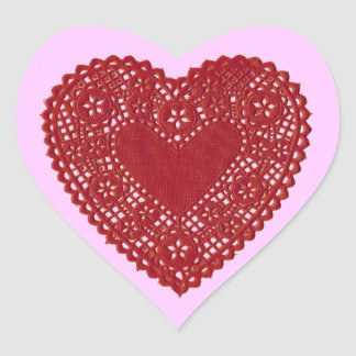 Red Heart Lace Doily on Pink Background Valentine  Heart Sticker