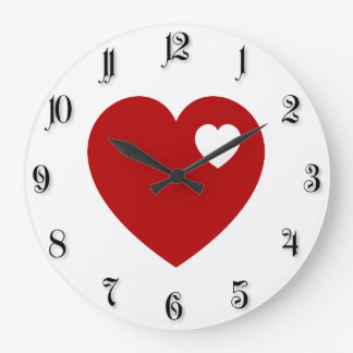 Red heart large clock