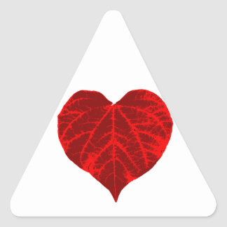 Red Heart Leaf Triangle Sticker