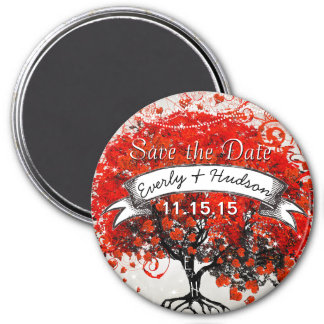 Red Heart Leaf Tree Save the Date Under Stars Magnet