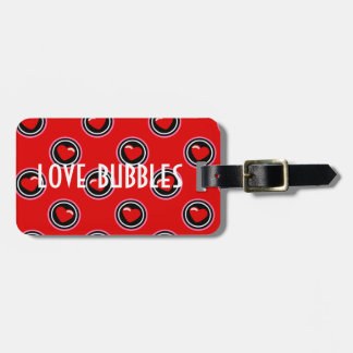 Red heart love bubbles luggage tag