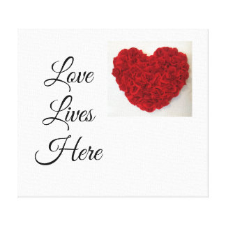 Red Heart 'Love Lives Here' Canvas Wall Picture