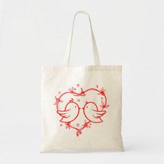 Red Heart Lovebirds - Wedding, Bridal Shower Tote Bag