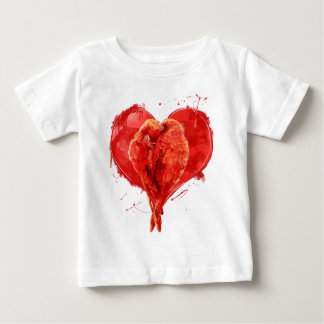 Red heart. Loving parrots. Baby T-Shirt