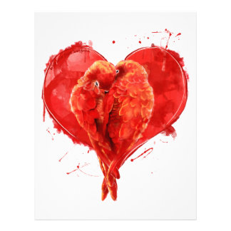 Red heart. Loving parrots. Letterhead Template