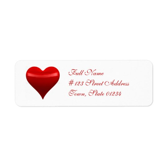 Red Heart Mailing Label Return Address Label