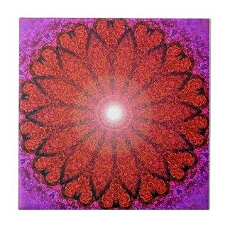 Red Heart Mandala-Orignial Art by SQ Streater Tile