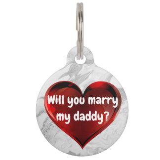 Red Heart Marriage Proposal Dog Tag