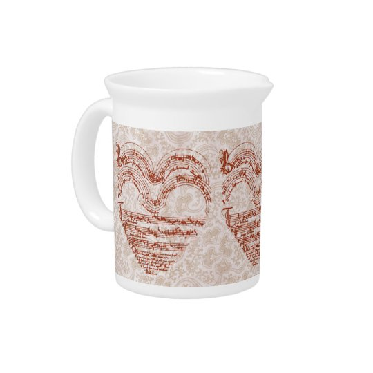 Red Heart Medieval Manuscript Creamer Pitchers
