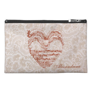 Red Heart Medieval Music Manuscript Customizable Travel Accessories Bag