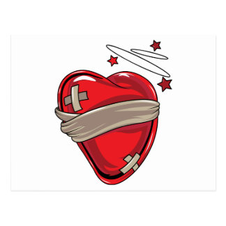 Red Heart Mending Broken Hearts Love Postcard