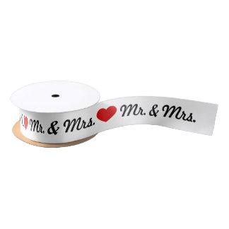 Red Heart Mr. & Mrs. Wedding Satin Ribbon
