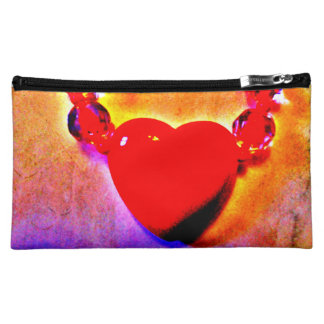 Red Heart Necklace Cosmetic Bag