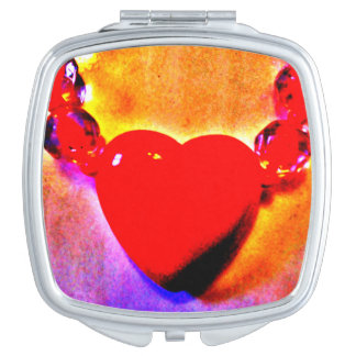 Red Heart Necklace Makeup Mirror